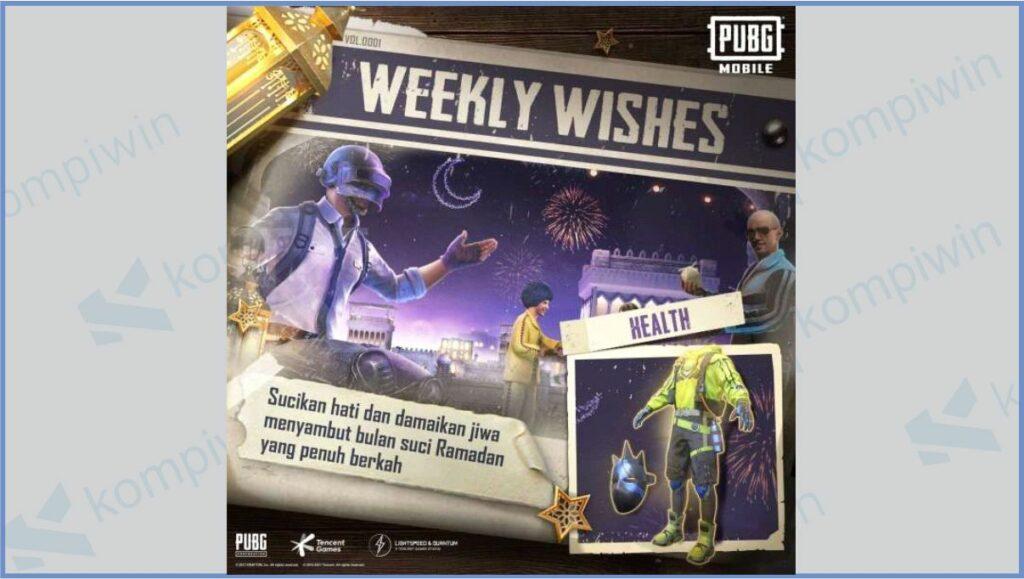 Weekly Wishes Ramadhan 2021 PUBG - Kode Redeem PUBG Weekly Wishes Ramadhan 2021