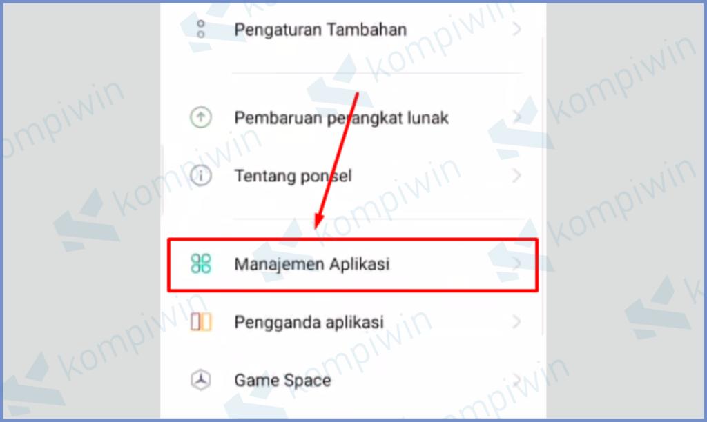 Buka Menu Manajemen Aplikasi