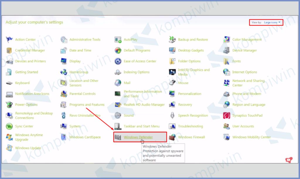 Buka Program Windows Defender