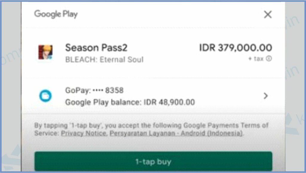 Klik 1-tap buy Untuk Lakukan Pembayaran - Cara Top Up Bleach Eternal Soul