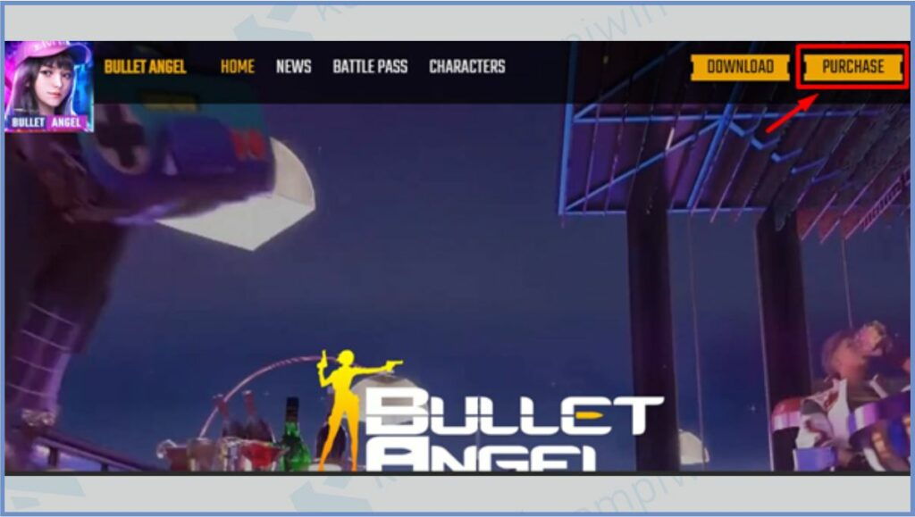 Klik Menu Purchase - Cara Top Up Bullet Angel