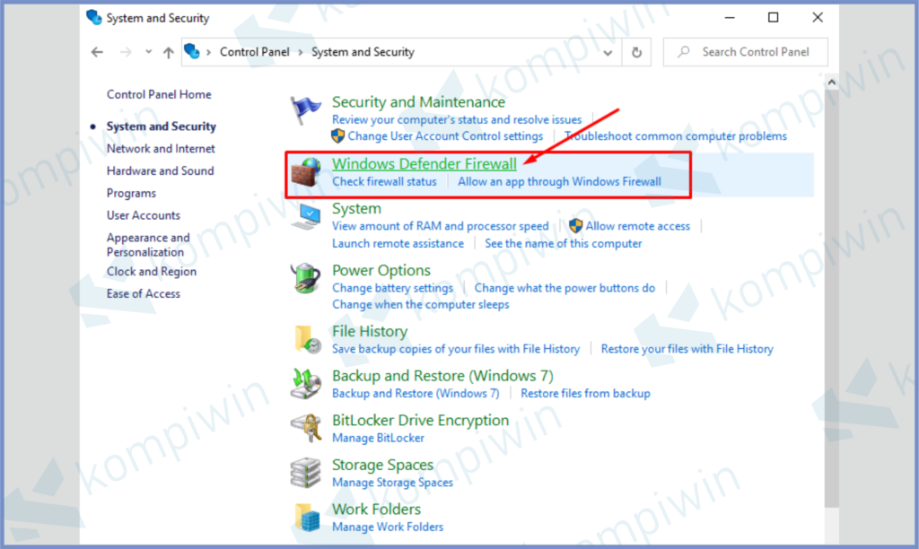 Klik Windows Defender Firewall