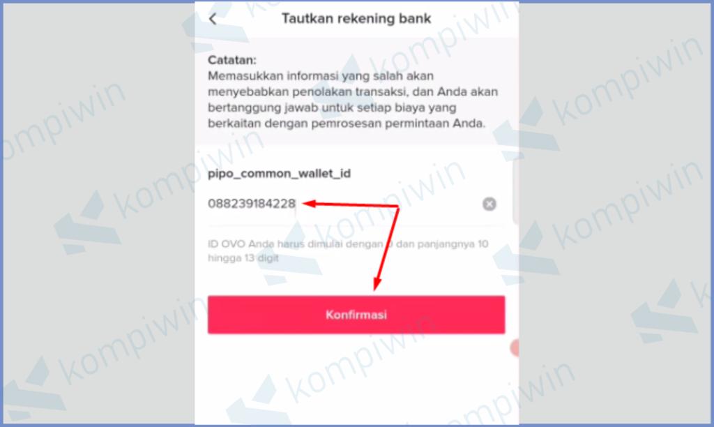 Masukkan ID Dan Klik Konfirmasi (OVO)