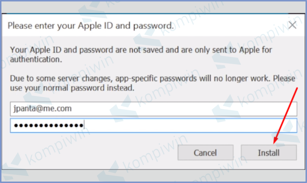 Masukkan Password Dan Install