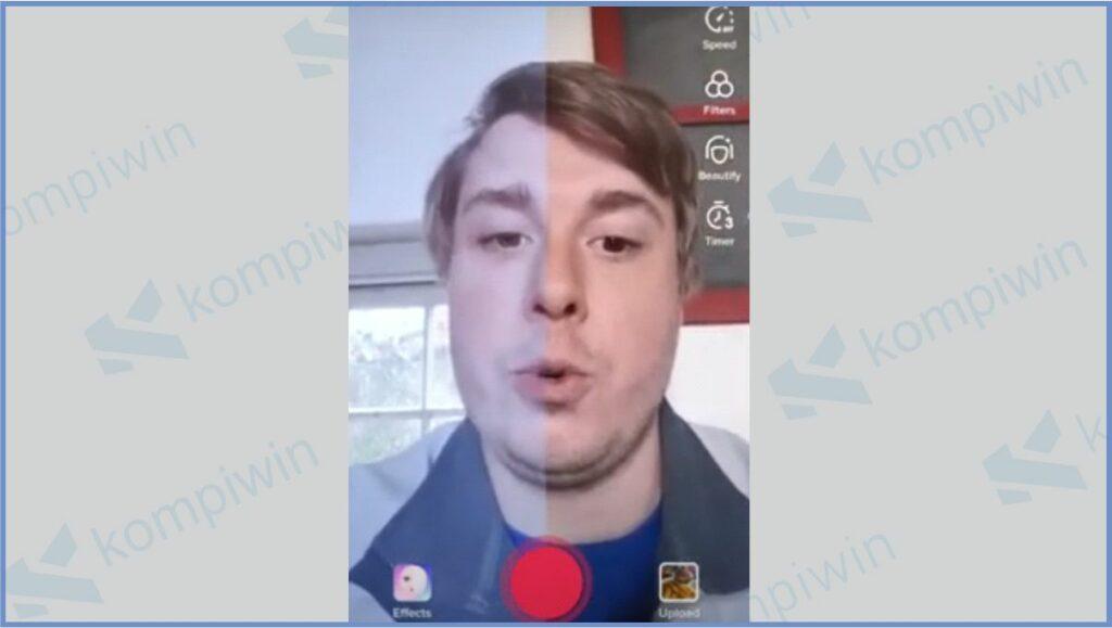 Mulai Ambil Video - Cara Menggunakan Half Screen Filter Tiktok