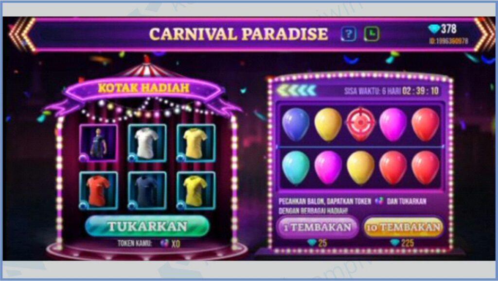 Mulai Event Carnival Paradise - Carnival Paradise Free Fire