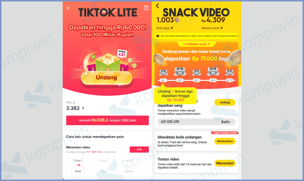Perbandingan Event Tiktok Lite dan Snack Video