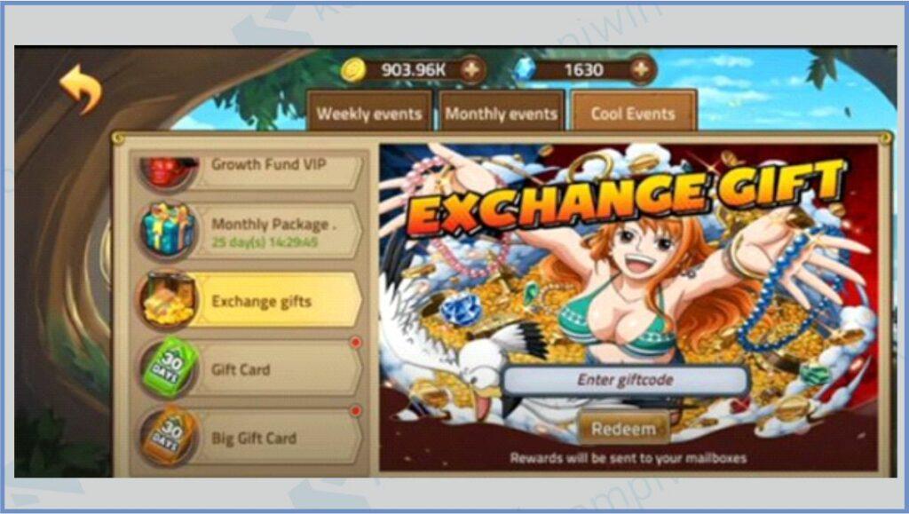 Pilih Exchange Gifts - Kode Redeem Epic Treasure Terbaru