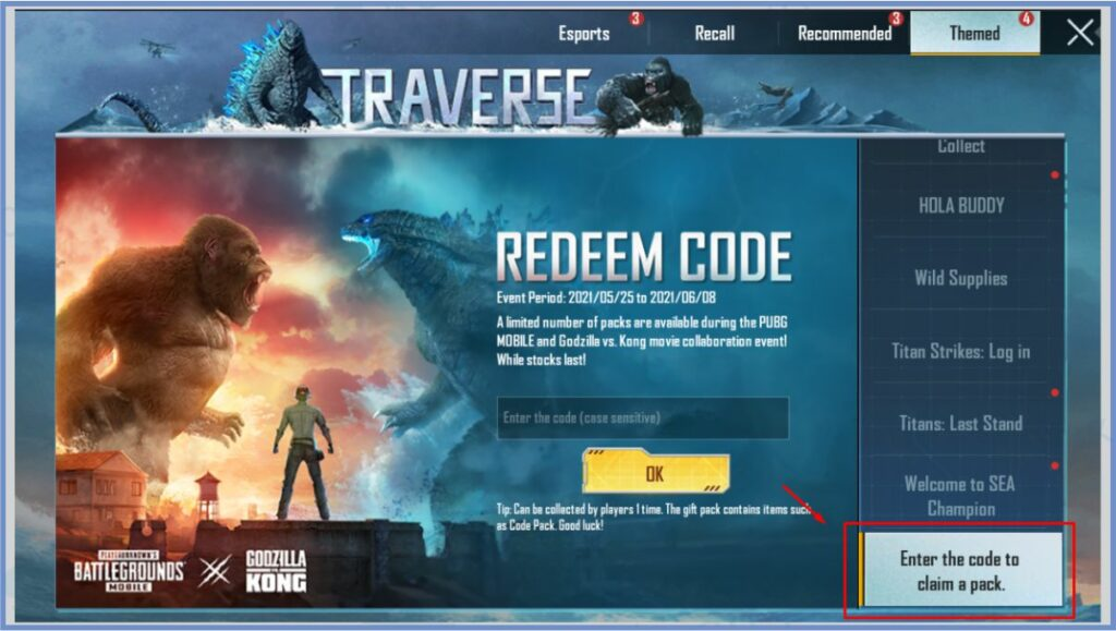 Scroll Sampai Menemukan Enter the code to claim a pack - Cara Redeem PUBG Godzilla VS Kong