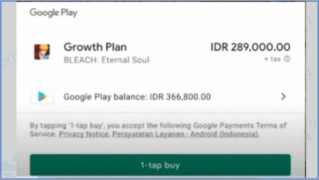 Setelah Pilih Paket Lakukan Pembayaran Dengan Klik 1-tap buy - Cara Top Up Bleach Eternal Soul