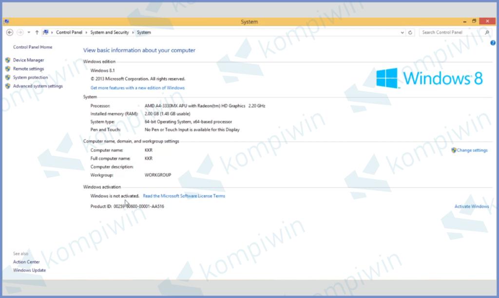 Status Aktivasi Windows 8