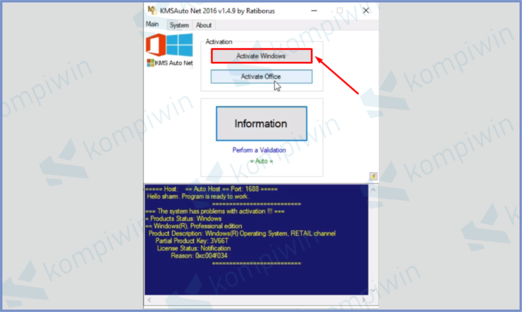 Tap Activation Windows