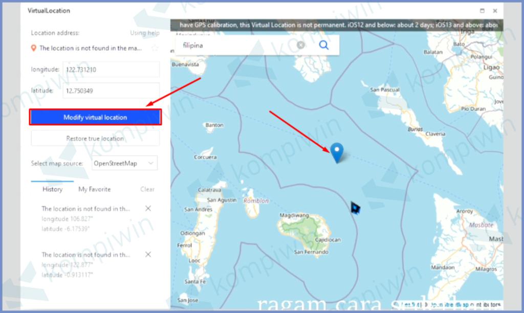 Taruh Lokasi Dan Modify Location