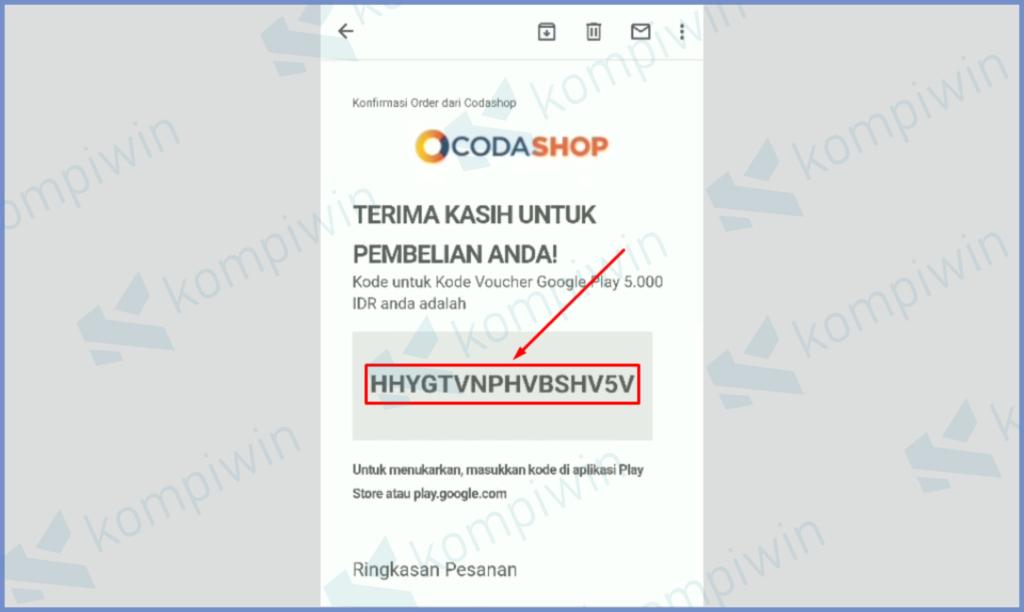 Buka Email Dan Copy Code Voucher