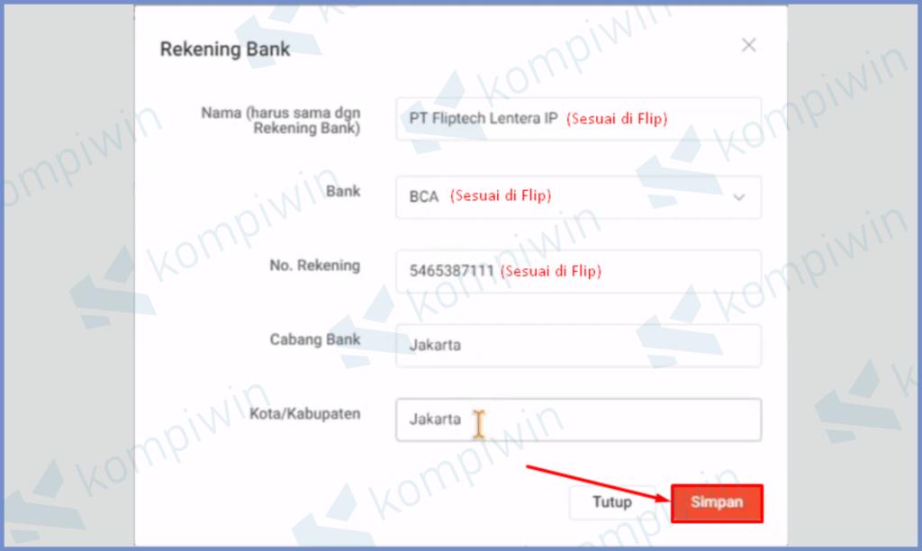Masukkan Informasi Rekening Bank Flip
