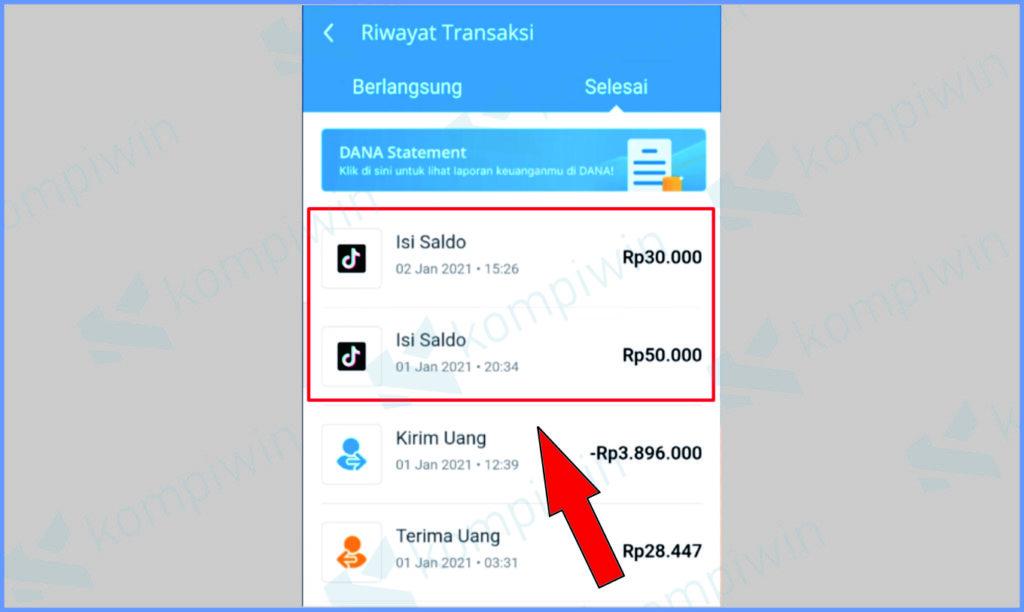 Riwayat Transaksi Aplikasi Dana